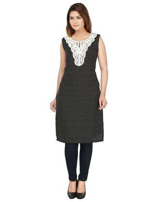 Picture of AK FASHION Black & White Printed Kurti