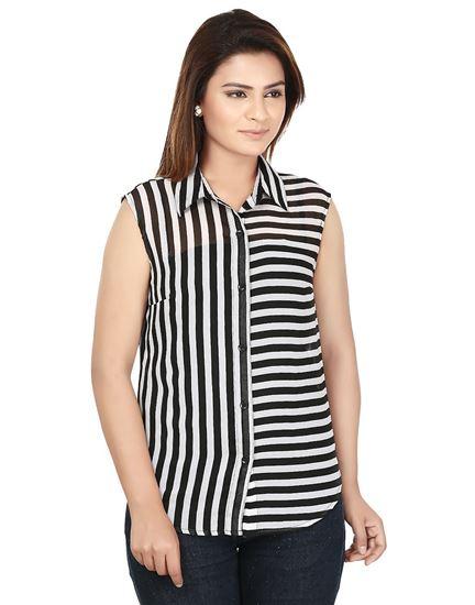Picture of AK FASHION Black & White Striped Shirt