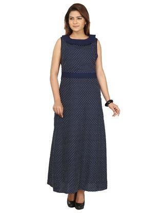 Picture of AK FASHION Blue & White Printed Maxi Dress