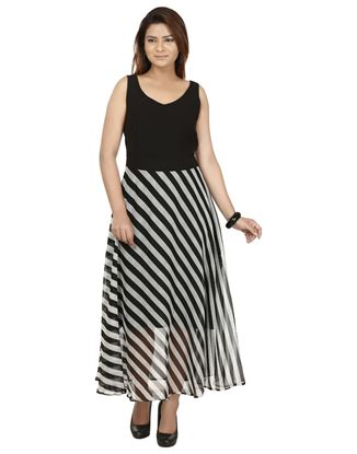 Picture of AK FASHION Black & White Striped Maxi Dress