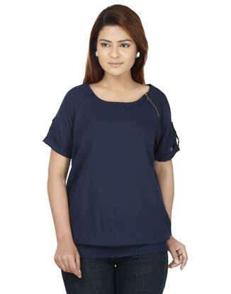 Picture of AK FASHION Blue Solid Top