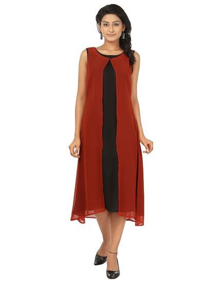 Picture of AK FASHION Red & Black Midi Layered Dress