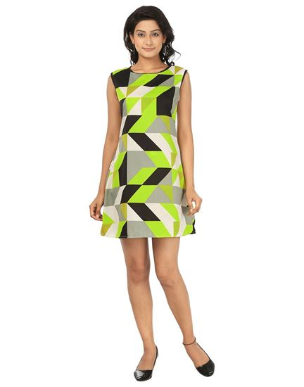 Picture of AK FASHION Yellow & Black Mini Shift Dress
