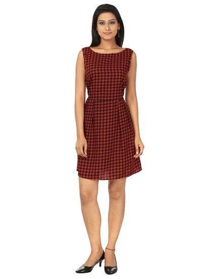 Picture of AK FASHION Red & Black Mini Fit and Flare Dress