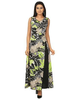 Picture of AK FASHION Black & Yellow Maxi A-line Dress