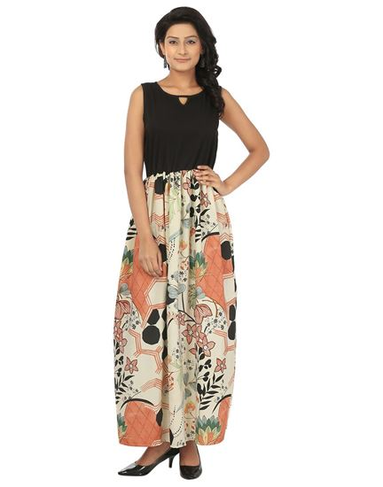 Picture of AK FASHION Black & Cream Maxi Fit and Flare Dress