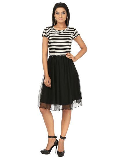 Picture of AK FASHION Black & White Midi Fit and Flare Dress