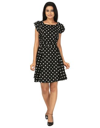 Picture of AK FASHION Black & White Midi Fit and Flare Dress
